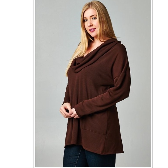 Emerald Fashion Sweaters - Plus Size Choc Brown Long Sleeve Top Cowl Neck